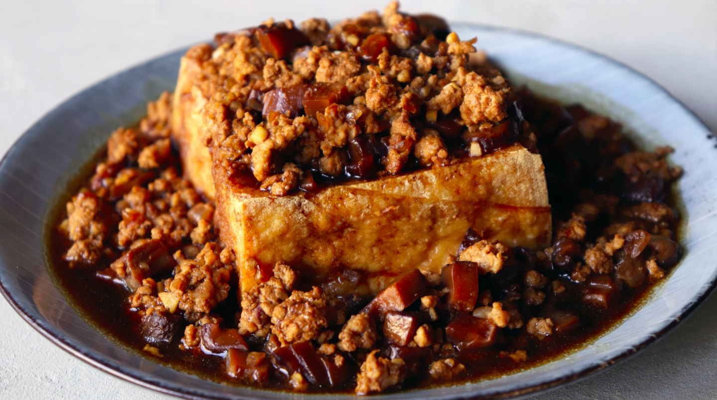 Fried Tofu with minced pork and mushrooms